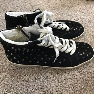 steve madden studded suede high top sneakers